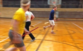 Brandin Whartin runs down the Quidditch field at a recent practice on Feb. 5. Whartin just joined the team last semester, and the team was practicing for an important upcoming match.
