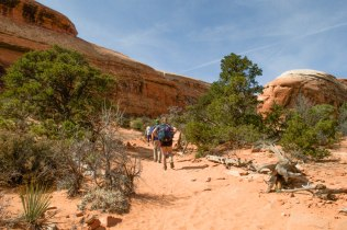 Jen Skinner hikes up to Navajo Arch. She's a freshman at WVU.
