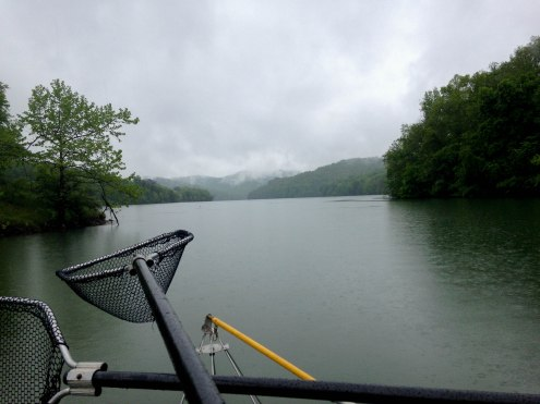 The fog rolls in over the West Virginia hills as the storm goes over the lake. PC: Jillian Clemente