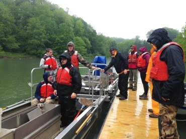 Students load up into the boats with PFDs on to go electroshock Stonecoal Lake. PC: Jillian Clemente