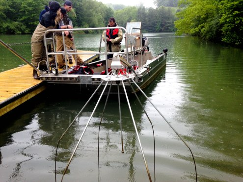 The boat is preparing to head out into the water to shock fish. The device in the front is the shocking part. PC: Jillian Clemente