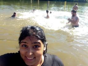 Monisha Mahalaha, a senior wildlife and fisheries resource management student at WVU, borrowed my phone to take a selfie while I got pulled in and splashed. PC: Monisha Mahalaha
