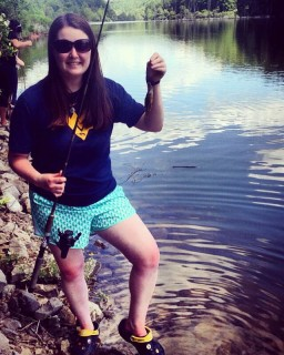 I caught my first fish in the state of West Virginia: a bluegill. PC: Sarah Weaver, a sophomore wildlife & fisheries resource management student.
