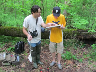 Dr. Lituma instructs Adam Rossi where and how to record data about the birds.